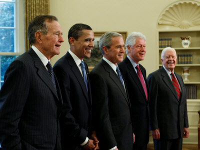 Side View of All Living Presidents and Newly Elected Barack Obama, January 7, 2009 Photographic Print
