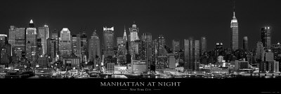 Manhattan at Night, New York City Kunsttryk