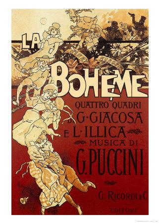 La Boheme, Musik von Puccini, Italienisch Kunstdruck von Adolfo Hohenstein
