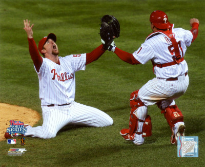 Brad Lidge and Carlos Ruiz celebrate Final Out of the 2008 World Series Photo