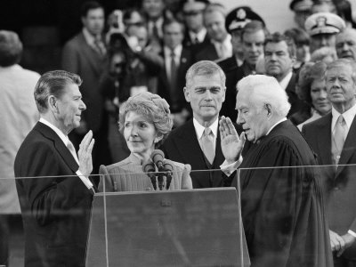 Chief Justice Warren Burger Administers the Oath of Office to Ronald Reagan, January 20, 1981 Photographic Print