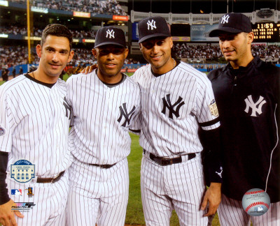 Jorge Posada, Mariano Rivera, Derek Jeter,& Andy Pettitte Final Game At Yankee Stadium 2008 Fotografa