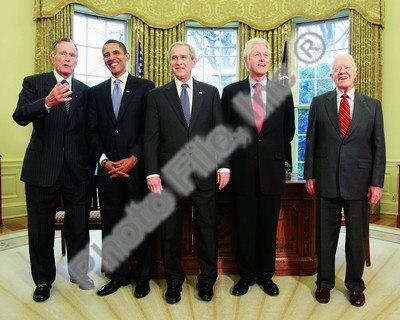 G.W. Bush w/President-elect Barack Obama & Presidents Clinton, Carter, & Bush Sr. in Oval Office. Photo