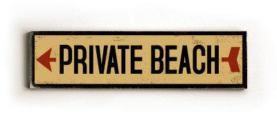 Private Beach arrow Wood Sign