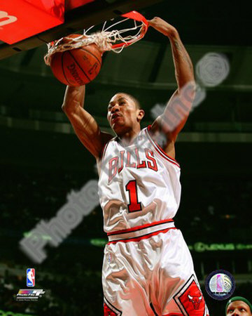 Derrick Rose basketball slam dunk photo