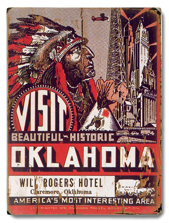 Visit Oklahoma Will Rogers Hotel Wood Sign