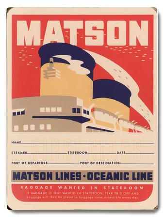 Matson Lines Oceanic Line Wood Sign