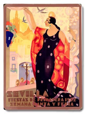 Sevilla Flamenco Dancer Wood Sign