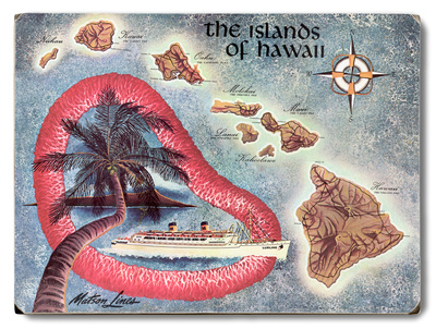 The Islands of Hawaii Map Wood Sign