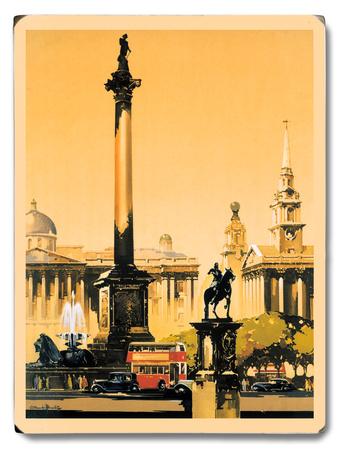 London - Trafalgar Square, 1948-1965 Wood Sign