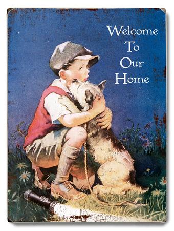Boy & Dog - Welcome Wood Sign