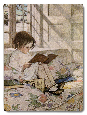 Girl Reading at Window Sill Wood Sign
