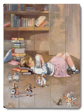 Girl Reading on Floor Wood Sign