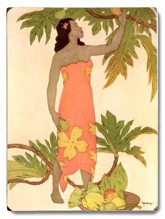 Woman at Palm Tree Wood Sign