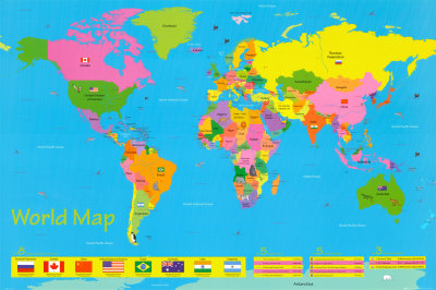 World Map Outline - A3 printable world map
