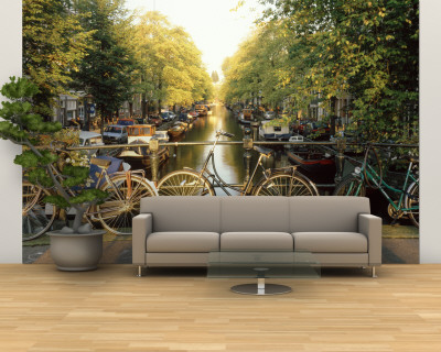 Bicycles on Bridge Over Canal, Amsterdam, Netherlands Wall Mural – Large