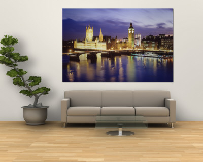 Buildings Lit Up at Dusk, Big Ben, Houses of Parliament, London, England Wall Mural