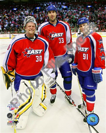 Tim Thomas, Zdeno Chara and Marc Savard 2008-09 NHL All-Star Game Photo