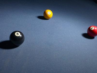 Three Billiard Balls on Blue Felt Pool Table Photographic Print