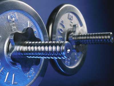 Close-Up of Shiny Steel Weightlifting Dumbells Photographic Print