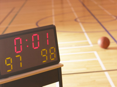 Digital Scoreboard Noting the Score and Time Left on Clock During Basketball Game Photographic Print