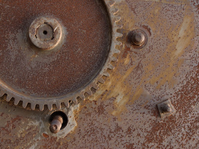 Close-Up of Industrial Metal Gear with Rusty Surface Photographic Print