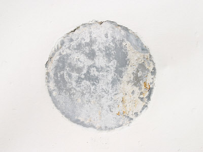 Mottled Weathered Cement Circle on White Background Photographic Print
