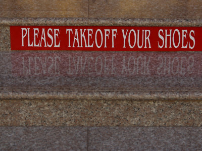 Take Off Shoes Sign on Stairs Photographic Print
