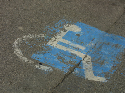 Weathered Handicap Parking Sign Photographic Print