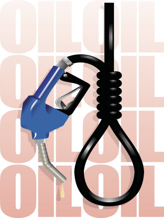 Gas Pump Nozzle and Hose Tied in Noose Photo