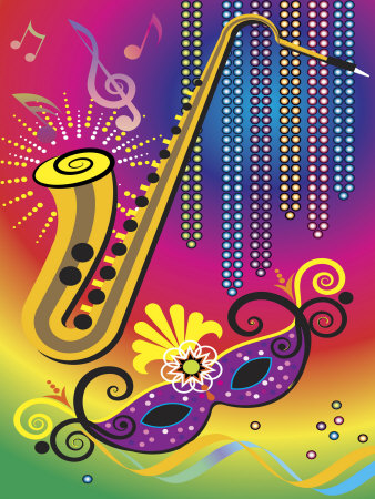 Colorful Symbols of Mardi Gras Premium Poster
