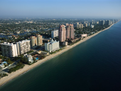 Aerial View Along Coast of Fort Lauderdale, Florida Photographic Print