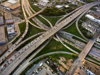 Aerial View of Highway in Dallas, Texas Photographic Print