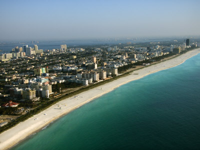 Aerial View over Grandiose Coast in Miami Beach, Florida Photographic Print