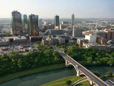 Aerial View of Buildings and High Rises in Downtown Fort Worth, Texas Photographic Print