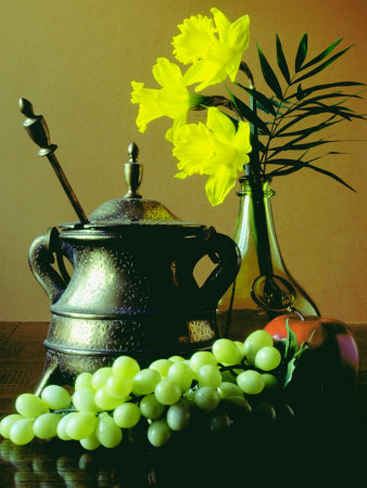 Still Life with Tea Pot and Fresh Grapes Photographic Print