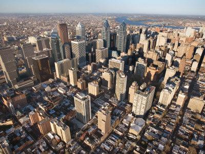 Aerial View of Buildings in Philadelphia, Pennsylvania Photographic Print