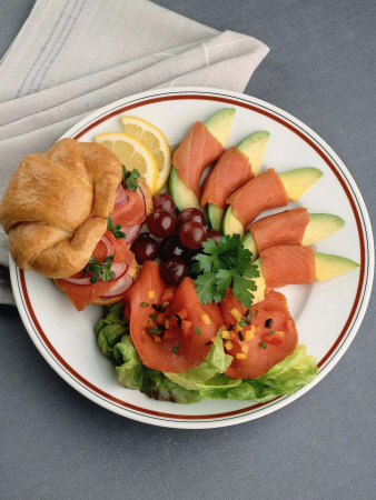 Plate with Meal of a Salmon Sandwich with Fruit Photographic Print