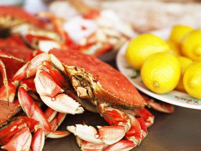 Fresh Crab and Lemons on Table Photographic Print