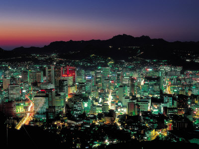 View of Buildings and Skyscrapers at Night in Korea Photographic Print