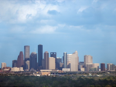Buildings and High Rises in Skyline of Houston, Texas at Night Photographic Print