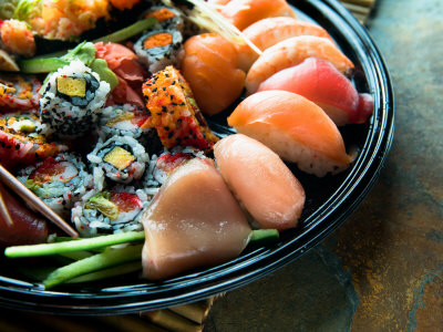 Assortment of Traditional Japanese Cuisine of Sushi on Platter Photographic Print