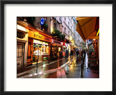 Qaurtier , Latin Quarter at Night, Rue de la Huchette, Paris, Ile-De-France, France Indrammet fotografitryk