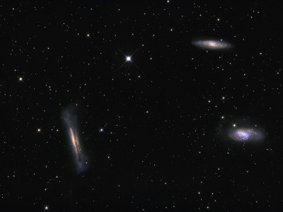 Small Group of Galaxies known as the Leo Triplet Photographic Print by  Stocktrek Images