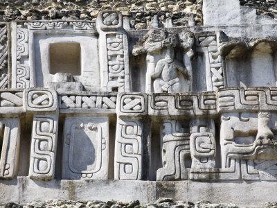 Frieze, 130Ft High El Castillo, Xunantunich Ruins, San Ignacio, Belize Photographic Print by Jane Sweeney