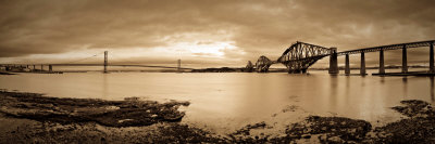 Forth Road and Rail Bridges, Firth of Forth, Edinburgh, Scotland, UK Photographic Print
