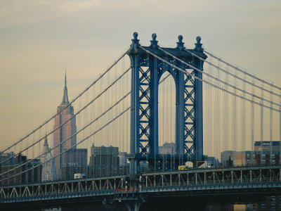 Empire State Building and Manhattan Bridge, Manhattan, New York City, USA Photographic Print
