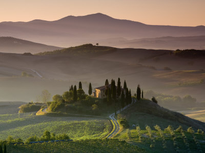 Farma, Val D' Orcia, Toskánsko, Itálie Fotografická reprodukce