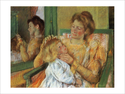 Mother Combing Her Child's Hair Giclee Print by Mary Cassatt