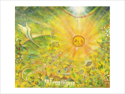 Keep the Sun in Your Mind in Gold Color Giclee Print by Miyuki Hasekura